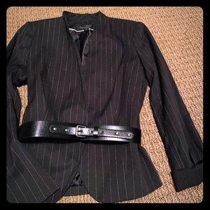 New with tags, Black Pinstripe blazer with belt